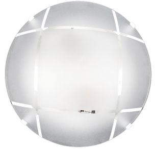 Plafon 4 Garras Vidro Redondo Fosco Xadrez p/ 2 lâmpadas