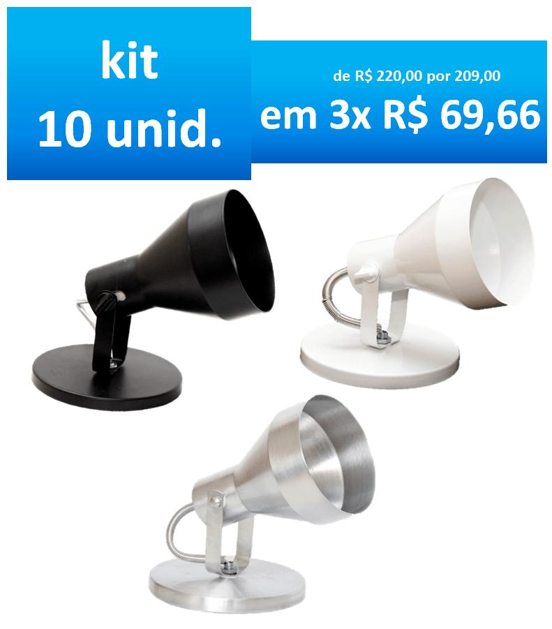 KIT LUMINARIA SPOT SOBREPOR P/ LAMPADA PAR30 c/ 10 unidades