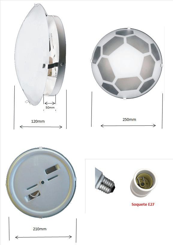 Plafon Infantil Mod. Bola p/ 2 lâmpadas