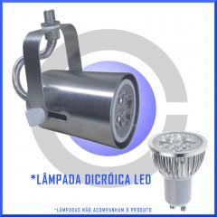 Kit Spot Trilho Perfilado Eletrocalha Dicroica 5 unidades