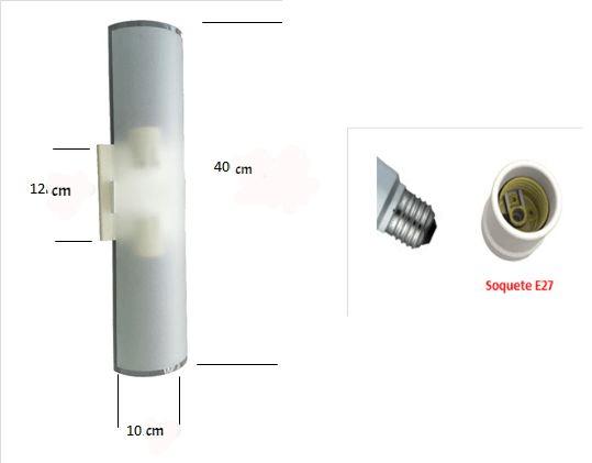Arandela Fosca Calha Dupla 2 lâmpadas