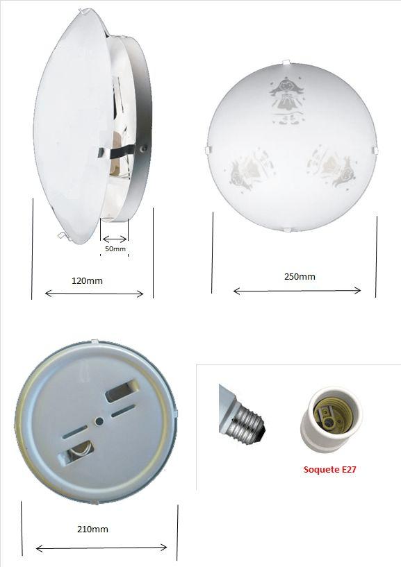 Plafon Infantil Mod. Boneca p/ 2 lâmpadas