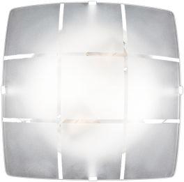 Plafon 4 Garras Vidro Xadrez Fosco p/ 2 lâmpadas