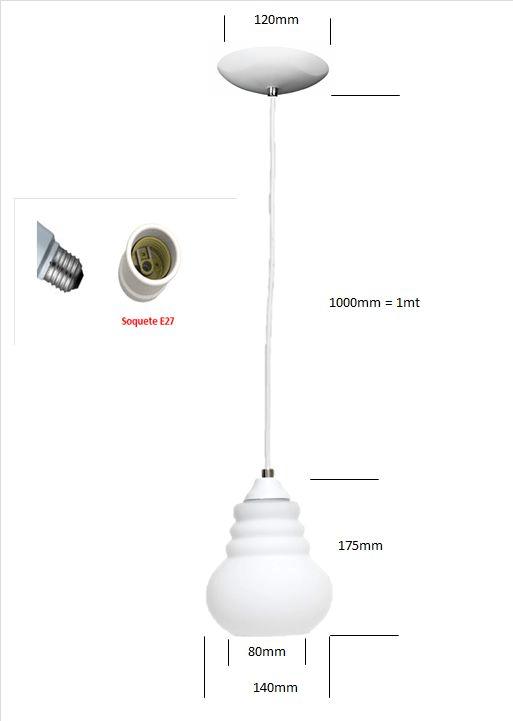 Pendente Vidro Lampada Enruga Cor Branca