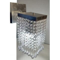 Arandela Quadrada Fechada Cristal ponteira pirulito transparente