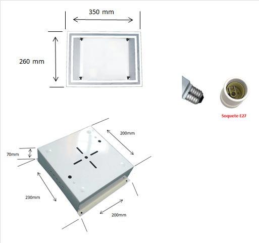 Plafon Retangular Branco e Escovado Vidro Externo para 2 lampadas