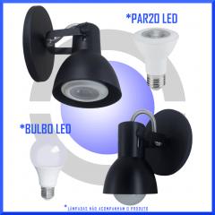 Luminaria de Parede Arandela em Alumínio p/ 1 lâmpada Comum Modelo Bocão Spot