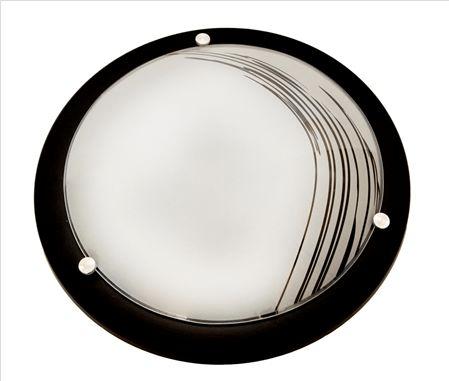 Plafon Mod. Saturno Vidro Riscado Preto 2 lâmpadas - cores