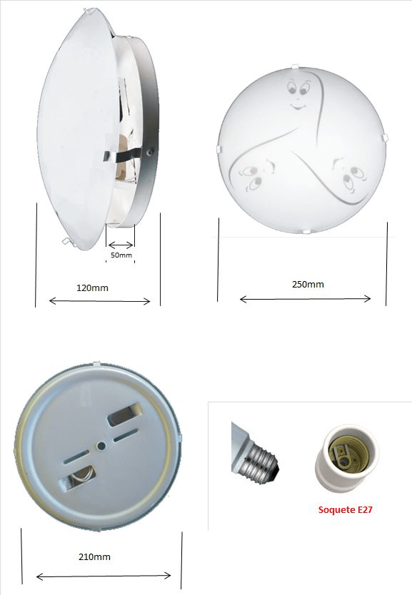 Plafon Infantil Mod. Fantasminha p/ 2 lâmpadas