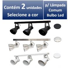 Kit Spot de Trilho para 3 lampada comum Led Bulbo - 60cm