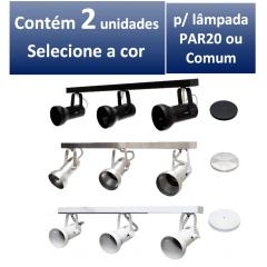 Kit Spot de Trilho para 3 lampada PAR 20 - 60cm