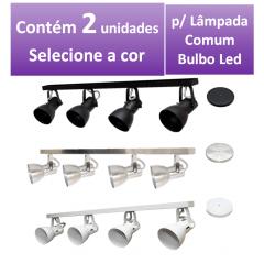 Kit Spot de Trilho para 4 lampada comum Led Bulbo - 80cm