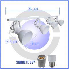 Spot de Trilho para 4 lampada comum Led Bulbo - 80cm