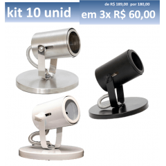 Kit Spot Sobrepor Dicroica c/ 10 unidades