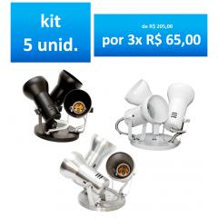 KIT SPOT SOBREPOR P/ 3 LAMPADAS COM 5 UNIDADES MODELO SOFT
