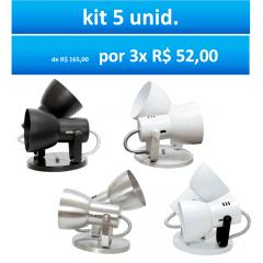 KIT SPOT SOBREPOR PARA TETO P/ 2 LAMPADA COMUM C/ 5 UNIDADES MOD. BOCÃO