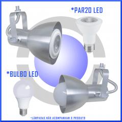 Spot Trilho Eletrocalha Perfilado p/ 1 lâmpada Comum mod. Bocão